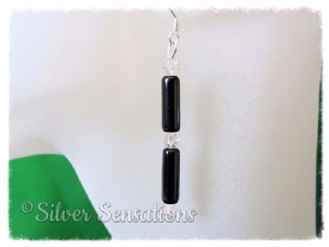 Black Onyx Round Tubes, Swarovski Crystals & Sterling Silver Earrings